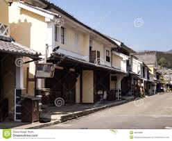 street with traditional japanese merchant houses editorial stock
