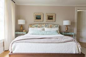 blue and brown headboard with turquoise nightstands cottage