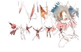 sketching people in action at the cortona flag tossing festival