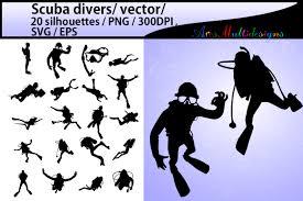 scuba divers scuba divers silhouette design bundles
