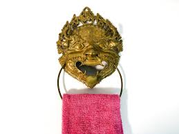 antique dog ring holder images Vintage asian motif brass towel ring holder unique design wall jpg