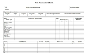 risk assessment form template free risk assessment template free
