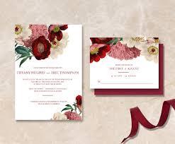 Wedding Wishes Regrets Printable Maroon Floral Wedding Invitation Suite Diy Has Never