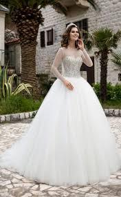 2017 new arrival sheer long sleeve a line wedding dresses luxury