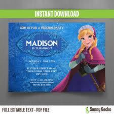 disney frozen anna birthday invitation instant download and edit