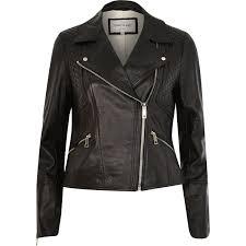 river island black leather fitted biker jacket in black lyst