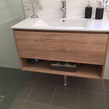 Bathroom Towel Shelf Eden 900mm White Oak Timber Wood Grain Wall Hung Vanity With