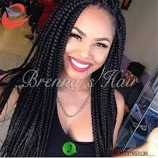 box braids hairstyle human hair or synthtic 24 inch black hair box braid lace wig freetress crochet box braids