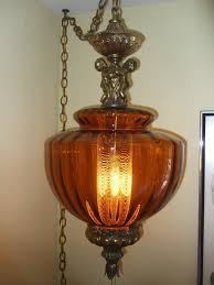 Light Fixture Hardware Parts by Vintage Hanging Swag Lighting Amber Glass Gold Hardware To Hang