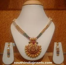 gold beaded necklace india images Designer gold beaded necklace south india jewels jpg