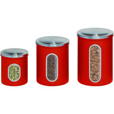 red kitchen canisters pulliamdeffenbaugh com honey can do 3 piece nested metal food storage canister set with red kitchen canisters