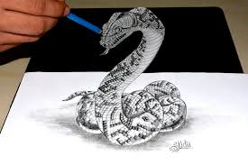 drawn serpent anamorphic pencil and in color drawn serpent