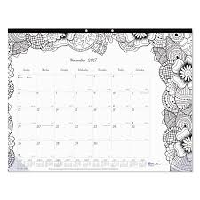 academic doodleplan desk pad calendar w coloring pages by blueline