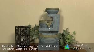 three tier cascading basins tabletop fountain with led light xss