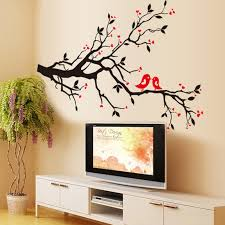 Heart Wall Stickers For Bedrooms Red Love Heart Wall Stickers Bird Decal Bedroom Living Room Diy