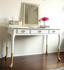 gold dipped queen anne desk vanity console restauredesign white