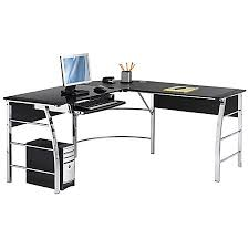 office depot writing desk realspace mezza l shaped glass computer desk blackchrome by office