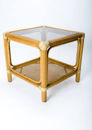 Rattan Side Table Vintage Rattan Side Table With Shelf After Mcguire Furniture