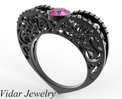 pink and black engagement rings pink sapphire heart shaped engagement ring in black gold vidar