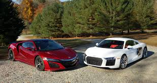 acura nsx vs audi r8 we compare tech versus higher tech