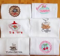 serviette de cuisine 6 pcs lot 50x70 cm coton gaufre broderie torchon cuisine serviette