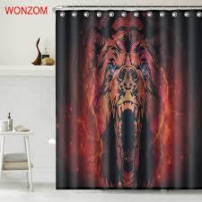 wonzom tiger polyester fabric bear shower curtain bathroom decor