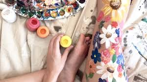 painting flowers on my whole leg - Leg Flower