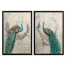 peacocks home decor imax panache peacock canvas wall art set of 2 hayneedle