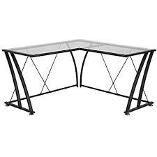 amazon com flash furniture glass l shape computer desk with black