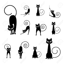 black cat silhouette collections cartoon cat black and white
