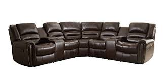 amazon com homelegance 3 piece bonded leather sectional reclining