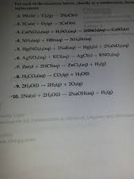 Worksheet 5 Double Replacement Reactions For Each Of The Reactions Below Classify As Combi Chegg Com