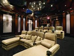 Decorations Awesome Home Theater Designed By Cream Cushions