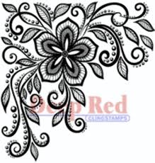 deep red rubber stamp lace flower corner dragonfly whispers