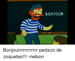 Meme Nelson - bonjour bonjourrrrrrrrrrrr pedazo de zoquetes nelson meme on