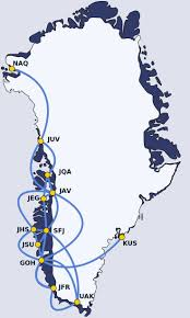 Alaska Air Route Map by Map Of Air Greenland Domestic Flight Destinations Greenland