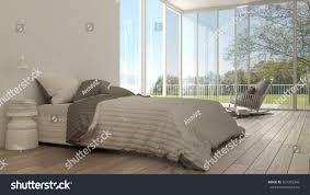 classic bedroom minimalistic white interior design stock