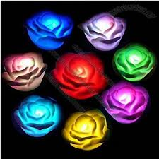 electronic led 7 color change roses flower novelty lights
