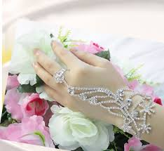 bridal bracelet with ring images Christmas snowflower silver color bracelet connected ring set jpg