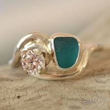 sea glass engagement rings 31 best made by meg sea glass engagement rings images on