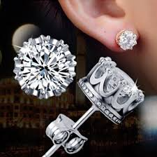 diamond earrings ellangelcollection jewelry collection crown stud diamond