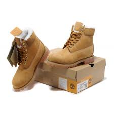 timberland mens 6 inch boots wheat with white wool