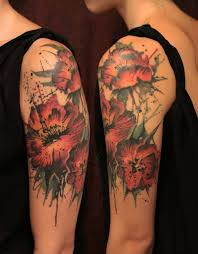 amazing abstract flowers tattoo on left half sleeve by gene