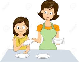 Setting The Table by Illustration Of A Little Helping Her Mother Set The Table