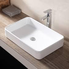 rectangle bathroom sink bowl vessel basin w pop up drain white