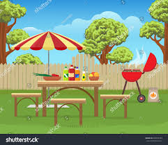 summer backyard fun bbq grilling barbecue stock vector 658033783