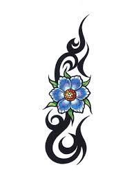 blue flowers tribal tattoo free design ideas