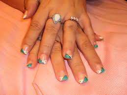 white and turquoise with dots nails