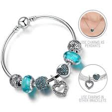 love pendant bracelet images Love is blue silver pandora style bracelet bangle combo set with jpg