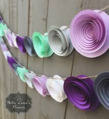purple decorations purple paper flower garland gray white mint green